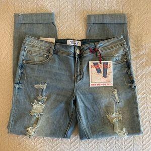 Double Roll Distressed Boyfriend Jeans